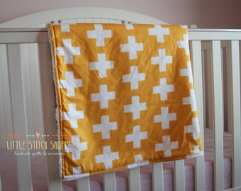 Modern Baby Blanket, Stroller Blanket, Minky Baby Blanket, Plus Sign Blanket- The Snuggle Blanket