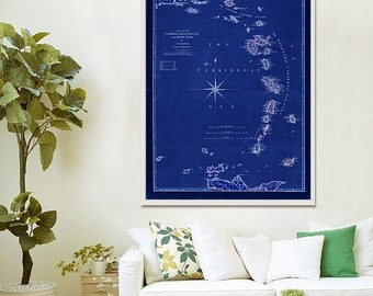 "Map of Windward Islands 1789 Vintage Caribbean map of Lesser Antilles in 4 sizes up to 36x48"" (90x120 cm) - Limited Edition of 100"