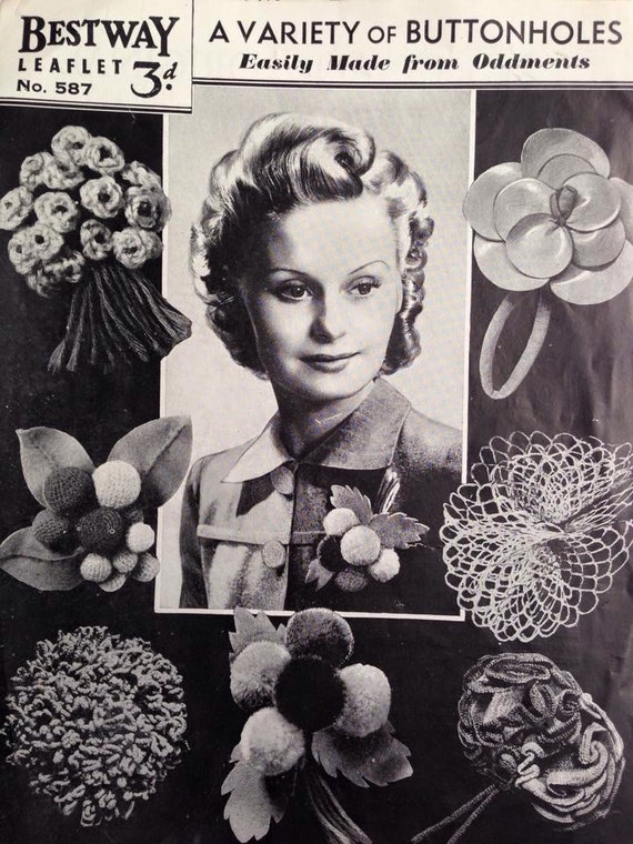 New 1940s Costume Jewelry: Necklaces, Earrings, Pins 1940s Bestway 587 PDF Sewing - Crochet - Knitting Pattern - Buttonholes Made From Odds & Ends - Accessories - Wartime Buttonholes - Brooch $2.00 AT vintagedancer.com