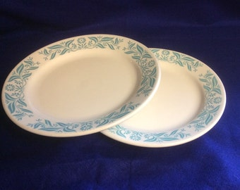 Two vintage Homer Laughlin Best China with Turquoise Pattern Restaurant Style