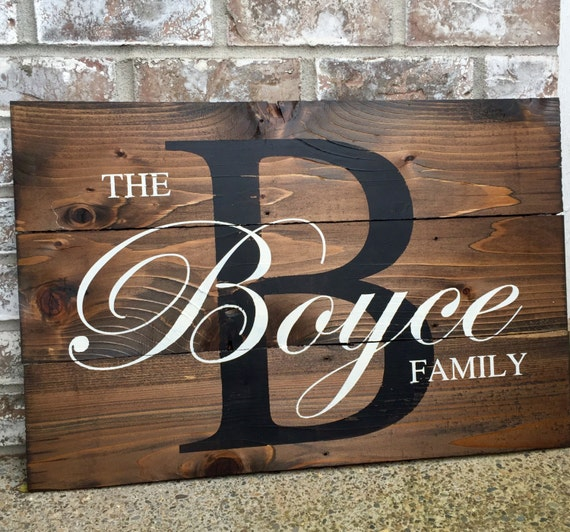 Last name wood sign wedding signs wood signs gift by redroansigns - Custom signs for home decor concept ...