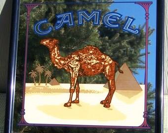 Vintage Large Camel Mirrored Sign Cigarettes Bar Pub Man Cave RJ Reynolds Advertising
