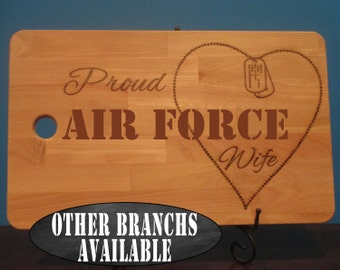 Proud Air Force wife, Air Force Mom, Air Force Girlfriend, dog tag chain heart personalized cutting board, patriotic, military wife gift
