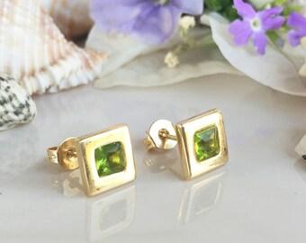 20% OFF Sale! August Birthstone Jewelry - Peridot Earrings - Square Earrings - Post Earrings - Delicate Studs - Simple Earrings - Gold Studs