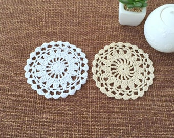 "Lot of 20 pcs ~ Hand crochet round doilies, handmade round coasters for home decor ~ Approx 4.5"" round"