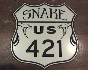 The Snake Rt 421 engraved road sign hanging man cave garage motorcycle