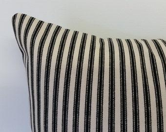 black  ticking pillow cover, Christmas pillow cover, Holiday pillow cover, black  stripe pillow, holiday pillow, Pillow cover