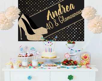 High Heel Personalize Backdrop - Glamourous Birthday Cake Table Backdrop- Birthday Backdrop