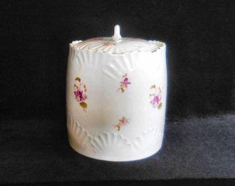 German Porcelain Lidded Biscuit Jar with Hand Painted Violets