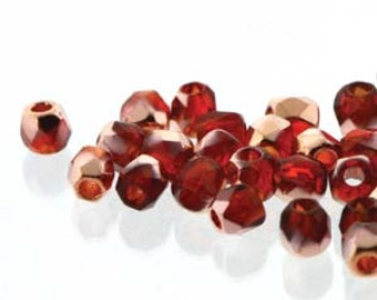 Czech Fire Polish 2mm True Crystal - Pack 100 - Crystal Siam Capri Gold