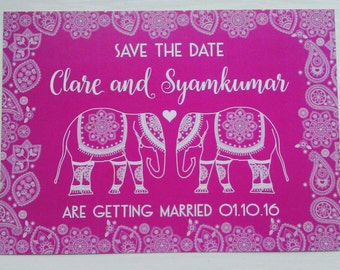Hot Pink Save the Date Cards. Indian Wedding. Decorated Indian Elephants Fuchsia Save the Day Cards. Paisley Pattern. Wedding Invitations