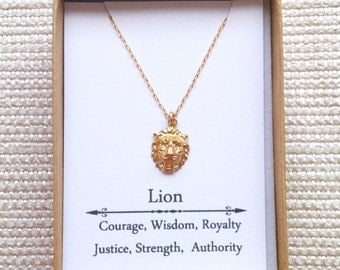 Gold Lion Head Necklaceg, Goldfillled necklace, Gold Lion Necklace, Strength Necklace, Courage Jewelry,  Leo Necklace, Zodiac Necklace