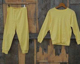 Soviet Vintage Cotton Pajama Retro Yellow Sleeping Wear Russian Pajama Unused Sleepingwear NOS