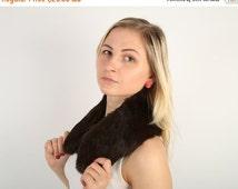 ON SALE Real Genuine Rabbit Fur Scarf / Brown Rabbit Fur Collar / Chic Accessorie / Burlesque Style