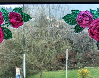 wicoart sticker window cling stained glass effect lot of 2 corners roses