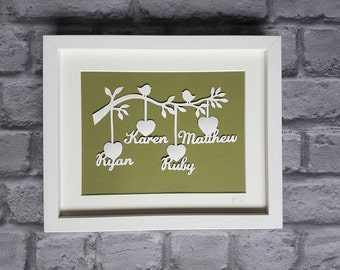 Family Tree Papercut - Personalised with names and your choice of colour background