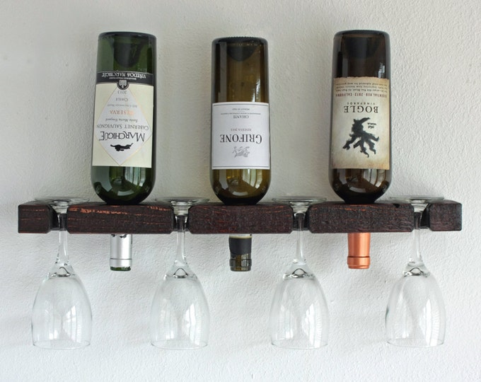 Wine Rack, Wall Mounted Wine Rack, Small Wine Rack Holds 3 Bottles & 4 Glasses