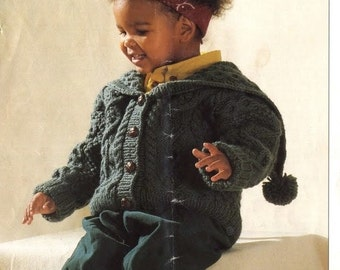 Knitting Pattern - Chunky Aran Jacket for Child - Sizes 1, 2 and 3 years of age