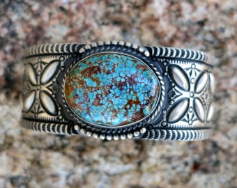 Superb # 8 Mine TURQUOISE BRACELET by Herman Smith, 107 Grams, Size 7 1/8