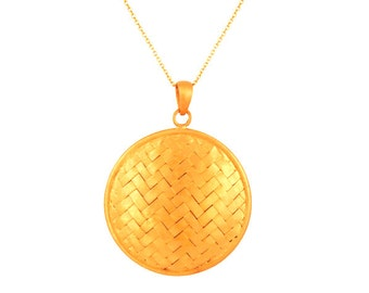 Braided pendant, sterling silver with 24 K gold plating
