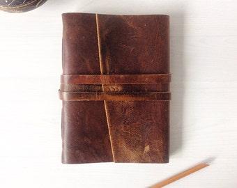 Travel journal, leather sketchbook, handbound A5 rustic brown leather journal, leather anniversary gift for him, Optional monogram