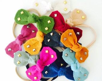 Bity Felt Studded hair bows - felt hair bows, mini hair bows, studded bows, fall hair bows