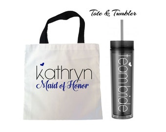 Bridesmaid tote and tumbler set, personalized tote and tumbler gift, bridesmaid gift, personalized wedding gift, wedding party sets