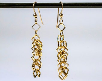 chain earrings, gold plated dangle earrings