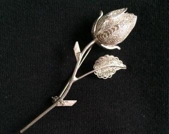 Sterling Rose Brooch / Pin