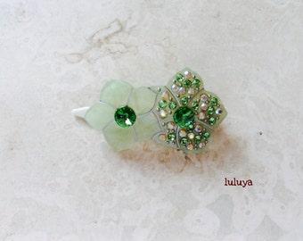 Green  w/ Crystals  Emerald Rhinestone Acrylic Hair Clip Pin Barrette