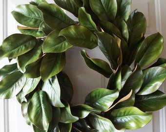 Magnolia Wreath, Leaves Wreath, Magnolias, Spring Leaves Wreath, Door Wreath, Year Round Wreath