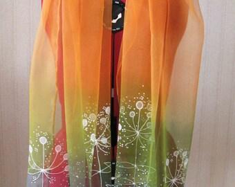 Hand painted silk schifon scarf