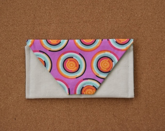 Small Envelope Clutch Purse - Pink Circles Print