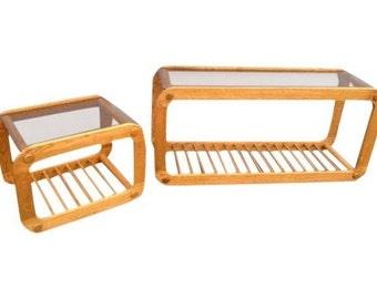Vintage Danish Modern Oak Sofa & Side table set w/ smoked glass