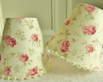 A shabby chic roses candle lampshade 11 x 13 cm / 4.3 x 5.1 ins for Wall Light, sconce or ceiling chandelier