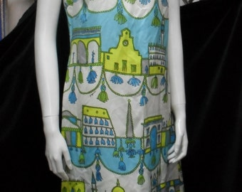 1960's PAGANNE signature short sleeveless shift dress town scene