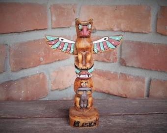 Alaska Totem Reproduction/Pacific Northwest Repro Totem Pole/Seahawk/Eagle Alaskan Resin Totem Souvenir/Painted Native Totem Home Decor