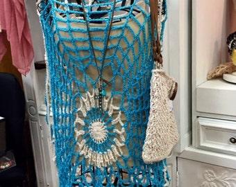 Retro Crochet Hippie Cover-up Top Blouse