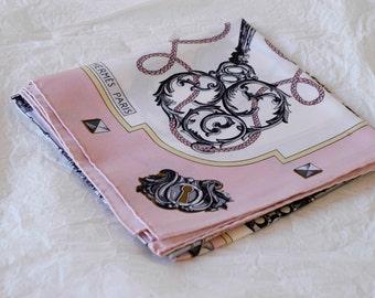 """Hérmes scarf les clés / les clefs / Cathy Latham 1960s design / French vintage designer fashion silk square accessory / foulard en soie 35"""""""