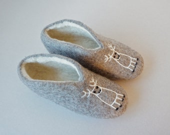 Organic Wool Felted Slippers / Home Shoes for Her and Him /Valentine's Day Gift/ Made to Order