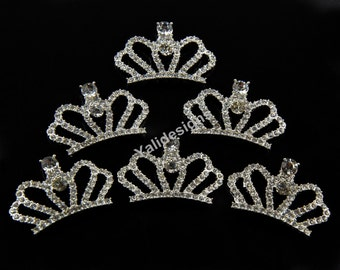 Set of 5pcs 26mm*41mm Metal Spark Rhinestone Crown Style-Wedding and Children Headbands or Hair Clips-YTB81