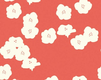 Poppies in coral knit fabric by Birch fabrics in 100% organic cotton from Elk Grove knit line