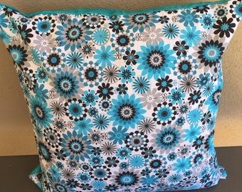 Blue & White Flowers Cushion Cover