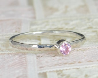 Pink Tourmaline  Engagement Ring, Sterling Silver, Wedding Ring Set, Rustic Wedding Ring Set, October Birthstone, Sterling Silver Ring