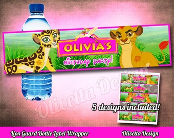 Lion Guard Bottle Wrappers, bottle labels, BIRTHDAY party Printable, Lion Guard Wrappers- Customized with name - Digital File