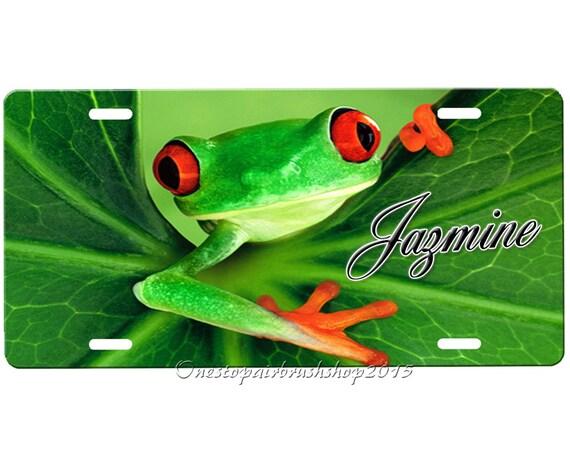 Frog License Plate by Onestopairbrushshop on Etsy