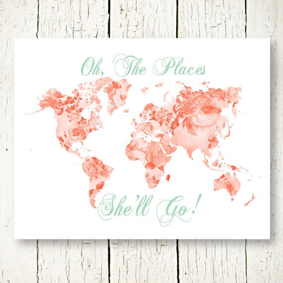 Mint And Coral Girl Nursery Printable World Map Oh The Places