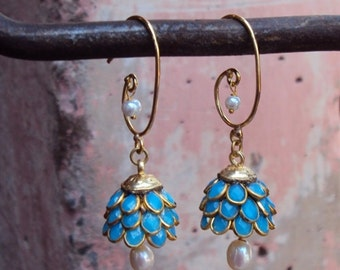 Artisan Made Floral Cluster Drop Paachi Earrings - Turquoise