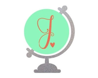 Travel Globe Glitter Sparkle Monogram Initial Decal Sticker