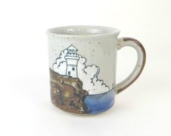 vintage embossed Lighthouse mug